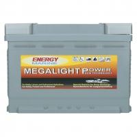 Megalight 12V 75Ah AGM Batterie + Klemmen mit Schmetterlingsschraube für 12 Volt Außenborder