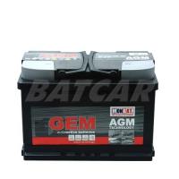 GEM AGM Batterie 12V 70Ah 760A/EN +Pol rechts