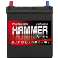 Autobatterie 35Ah + Links Hammer Asia Japan