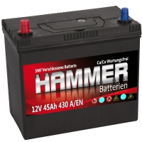Autobatterie 45Ah + Links Hammer Asia Japan