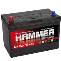 Autobatterie 95Ah + Links Hammer Asia Japan