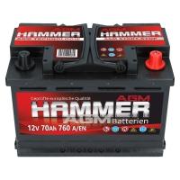Hammer AGM Starterbatterie 12V 70Ah 760A/EN +Pol Rechts