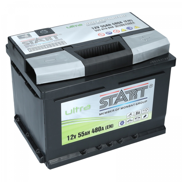 autobatterie ultra start 12v 55ah 480a en autobatterien shop motorradbatterien lkw. Black Bedroom Furniture Sets. Home Design Ideas