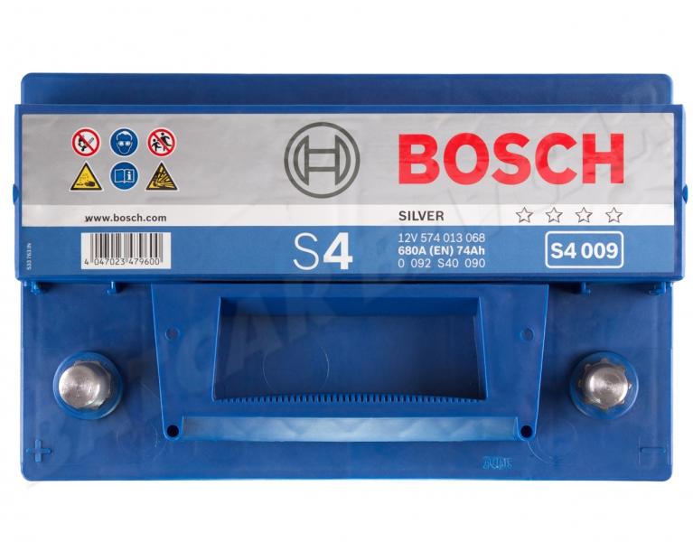 bosch s4 009 12v 74ah 680a en autobatterie shop starterbatterie 12v batterie. Black Bedroom Furniture Sets. Home Design Ideas