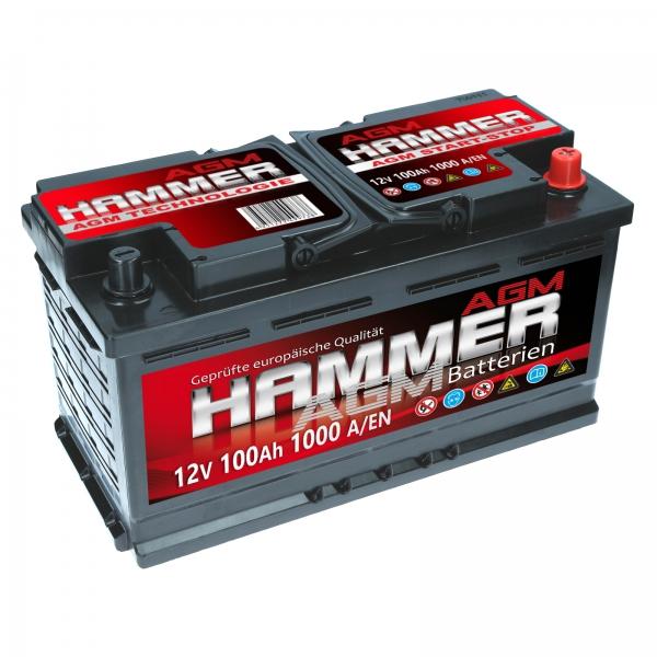 hammer agm 12v 100ah 1000a en autobatterien. Black Bedroom Furniture Sets. Home Design Ideas