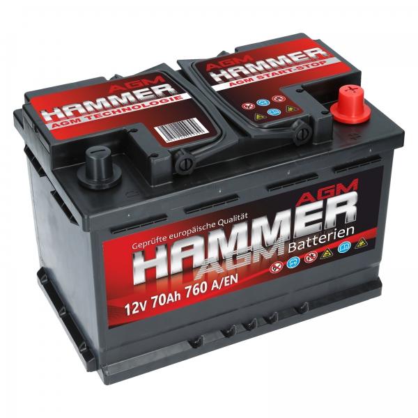 hammer agm 12v 70ah 760a en autobatterien shop agm batterien versorgungsbatterie. Black Bedroom Furniture Sets. Home Design Ideas